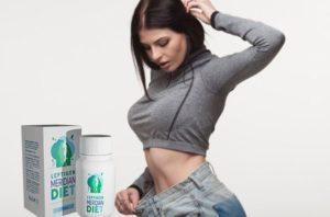 На фото похудевшая молодая женщина измеряет объём живота после приема leptigen meridian diet жиросжигающих капсул для похудения.